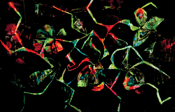 floral shapes on black background by BBS Art