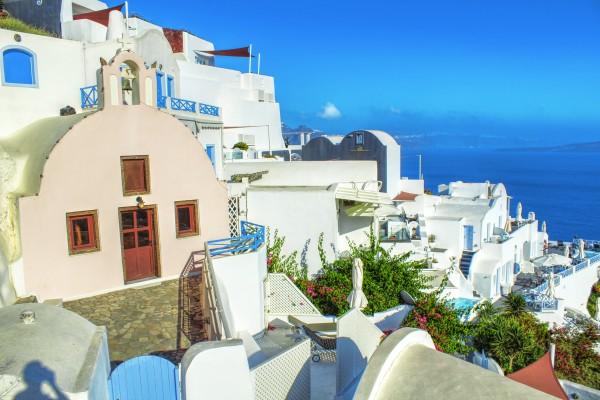 Colourful Village - Santorini Landscape by Bentivoglio Photography