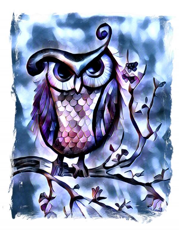 Le hibou bleu by Biji sylvie faucher