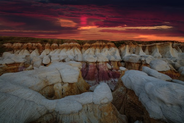 SUNRISE GLORY OVER THE CALHAN PAINT MINES by Bill Sherrell