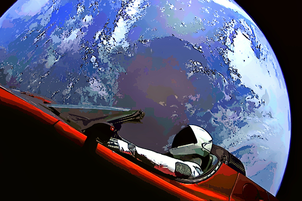 StarMan in Tesla Over Planet Earth by Bill Swartwout Photography