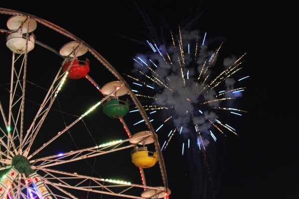 Ferris Wheel and Fireworks by Bob Vogt