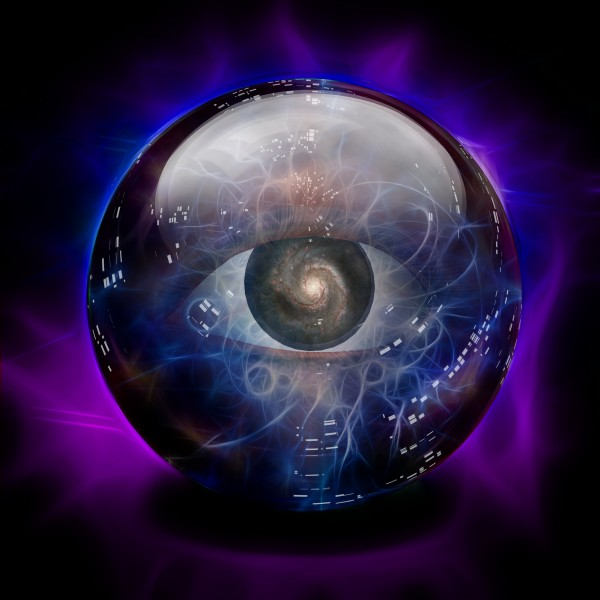 Crystal Ball with Eye and Galaxy by Bruce Rolff