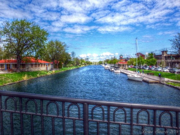 View Of The Old Canal With Railing HDR by Bruce Swartz