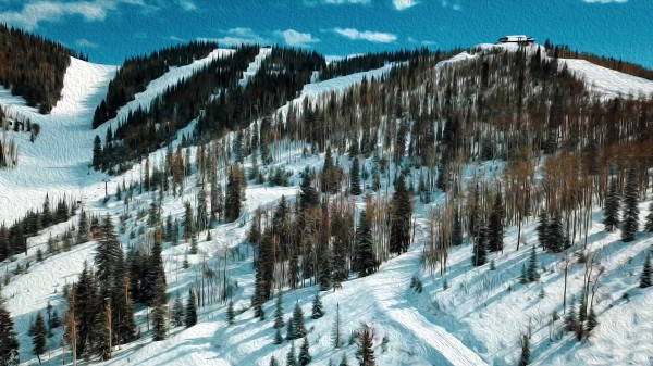 Steamboat  Springs Ski resort oil painting  by By the C Media