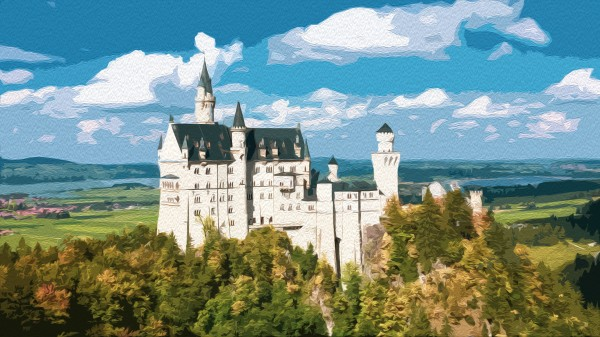 Neuschwanstein Castle oil painting style by By the C Media