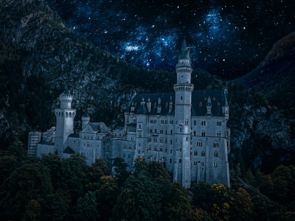 Neuschwanstein Castle at night  oil painting by By the C Media