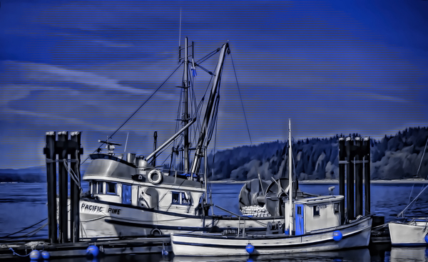 Fishing Boats at the Dock by COOL ART BY RICHARD