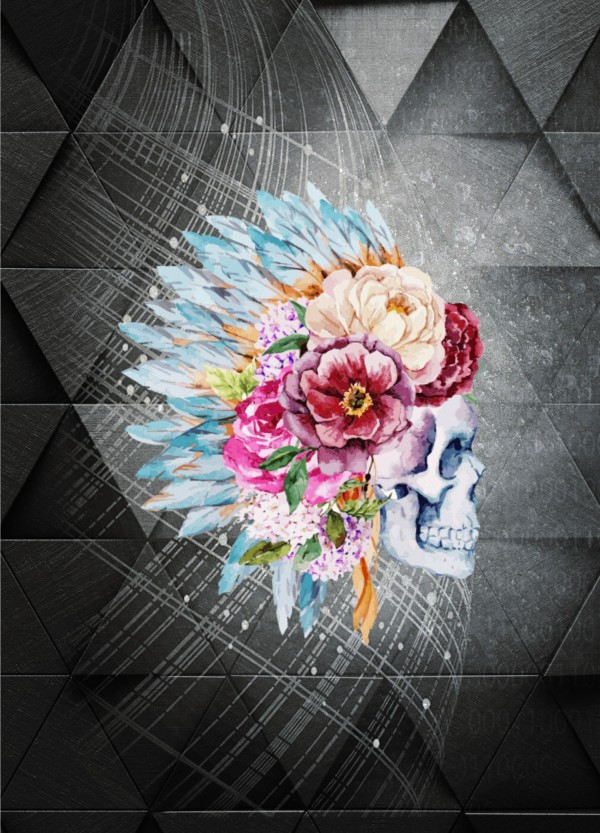 Feathers & flowers Skull by Cammie Rayas