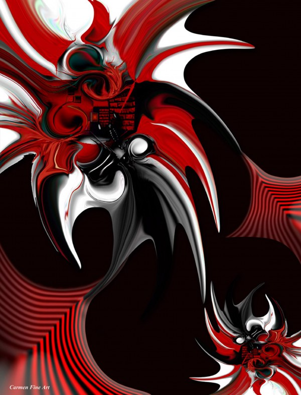 Red & Black Formation by Carmen Fine Art