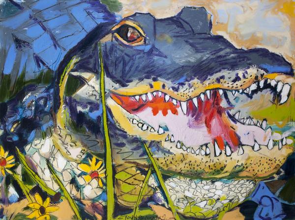 Louisiana Alligator with Wildflowers Digital Download