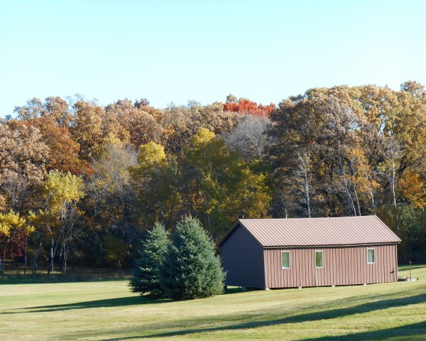 Pole Barn in Fall by Castle Green Enterprises