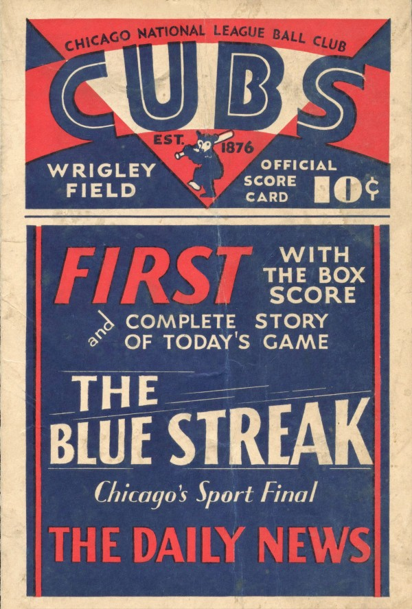 1933 Chicago Cubs Score Card by Chad Dollick