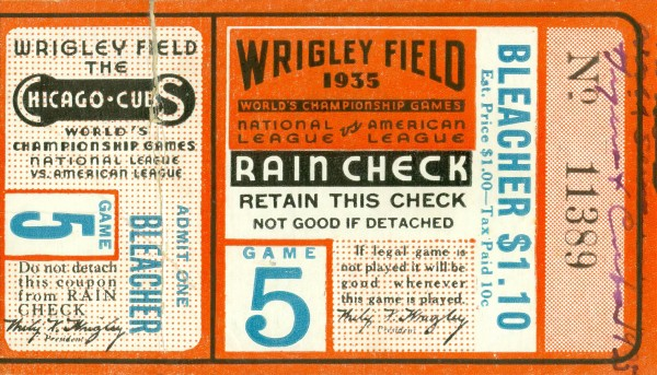 1935 Chicago Cubs World Series Ticket by Chad Dollick