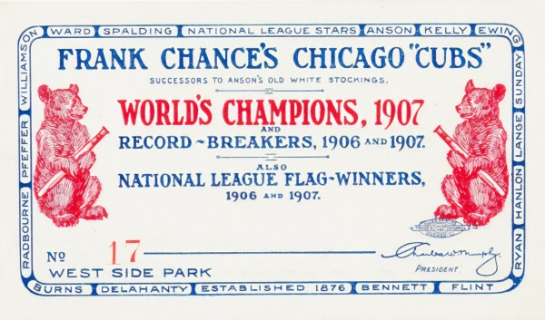 1908 Chicago Cubs score card by Chad Dollick