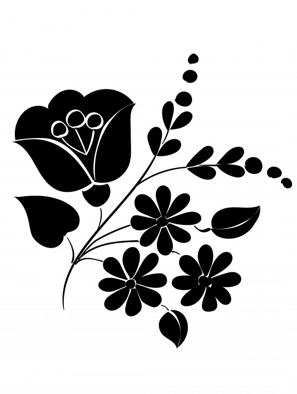 Black&white hungarian flower pattern by Chino20