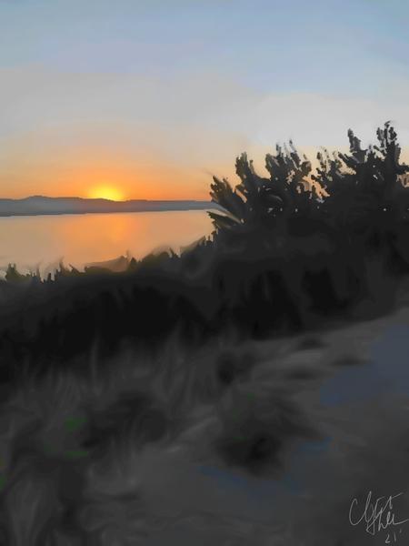 Sunset Over Lake Digital Download