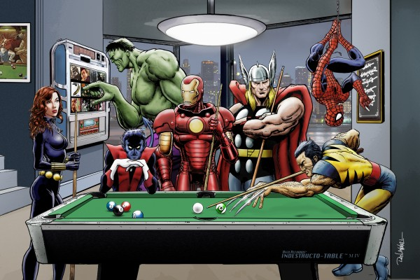 Afterhours: Marvel Superheroes Relax  Playing Pool featuring X-Men & Avengers, Wolverine, Spider-Man, Black Widow, Nightcrawler, Iron Man and Hulk by Dan  Avenell