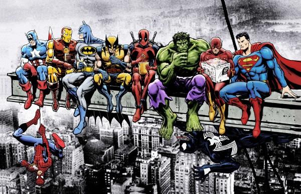 Marvel and DC Superheroes Lunch Atop A Skyscraper Featuring Captain America Iron Man Batman Wolverine Deadpool Hulk Flash & Superman by Dan  Avenell