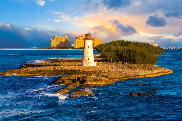 Bahamas Lighthouse with Resort by Darryl Brooks