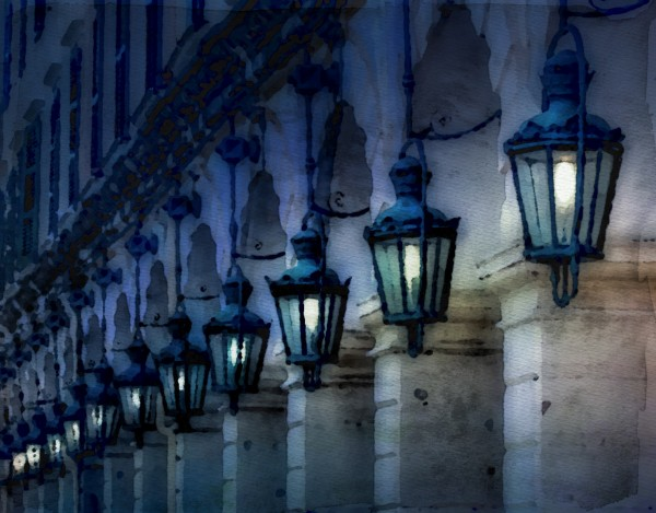 Blue Lamps on Columns Blue Night on Canvas by Darryl Brooks