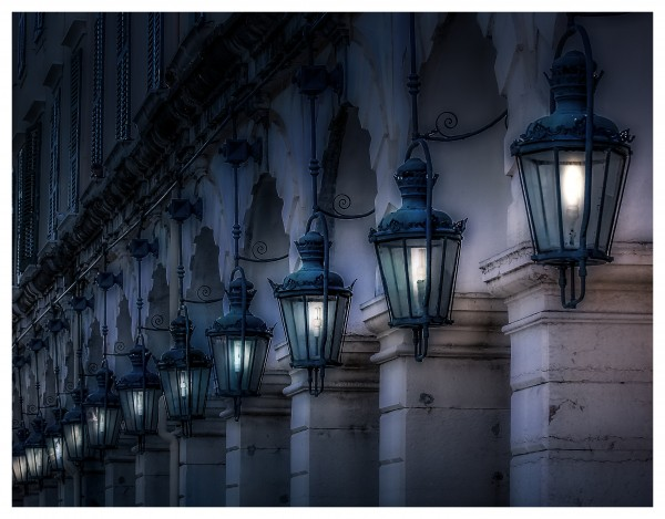Blue Lamps on Columns Blue Night by Darryl Brooks