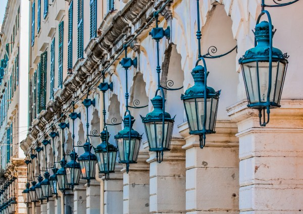 Blue Lamps on Columns by Darryl Brooks