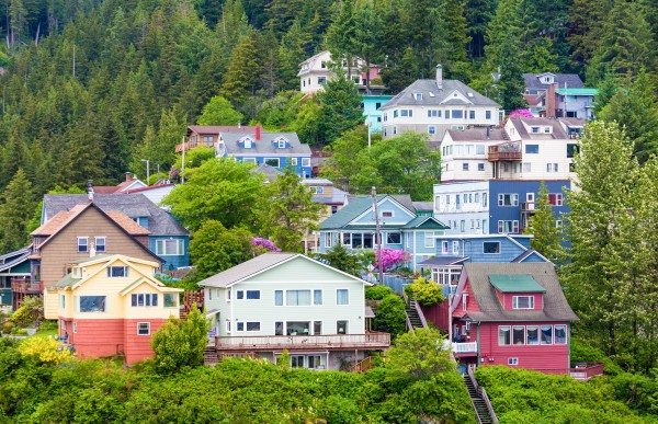 Colorful Houses on Ketchikan Hillside by Darryl Brooks