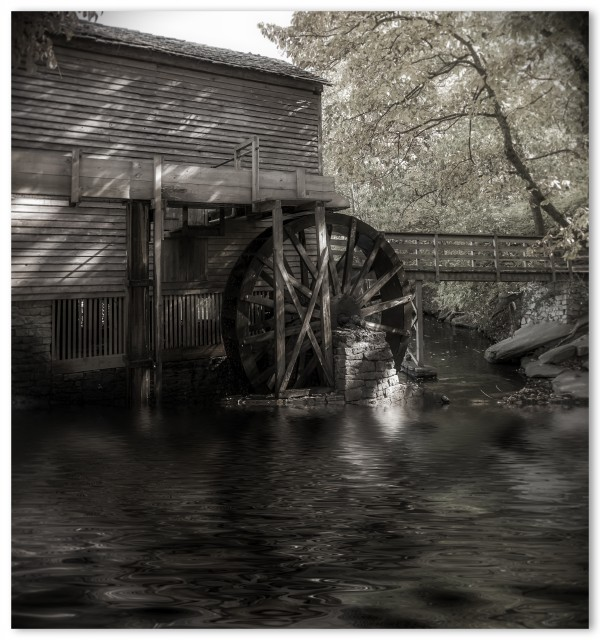 Grist Mill by Lake BW by Darryl Brooks