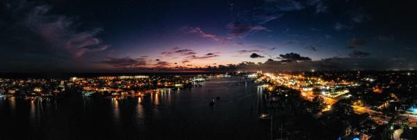 Harbor Night Pano  by Destin30A Drone