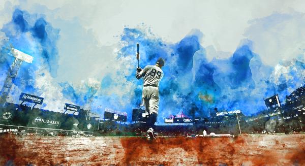 AARON JUDGE Water Color Print - New York Yankees print by Dinger Studios