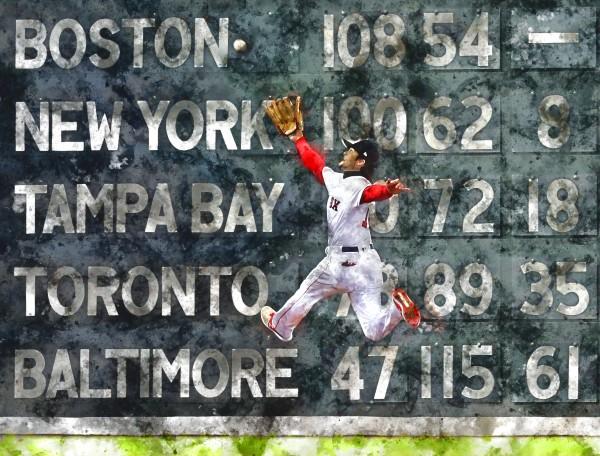 ANDREW BENINTENDI Water Color Print - Boston Red Sox Print by Dinger Studios