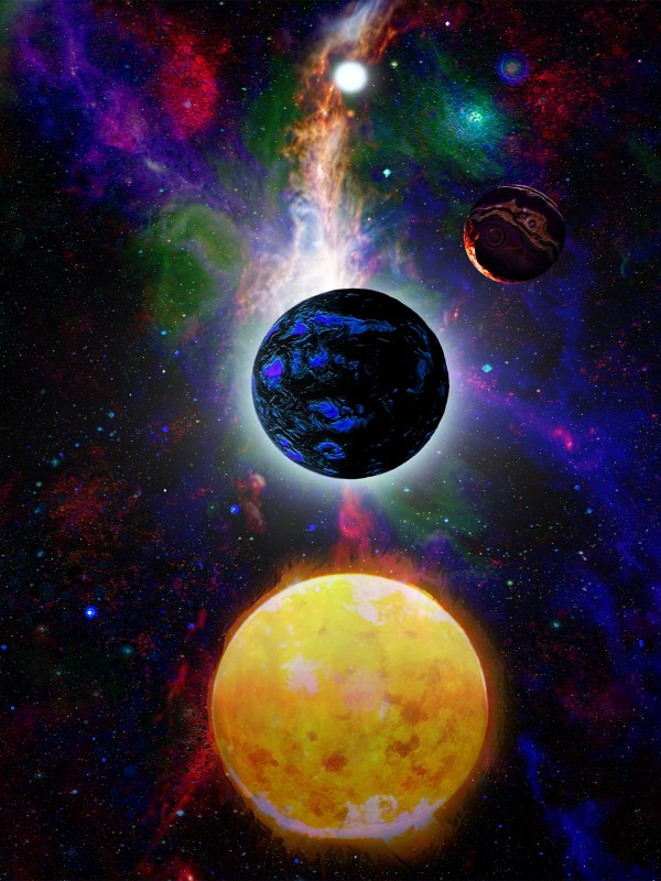 Surreal Planets in Space artist impression by DonWhiteArtDreamer