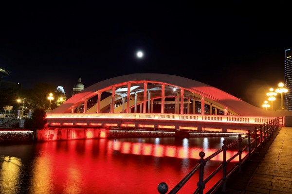 The Red Lighted Bridge by Edwin De Smet