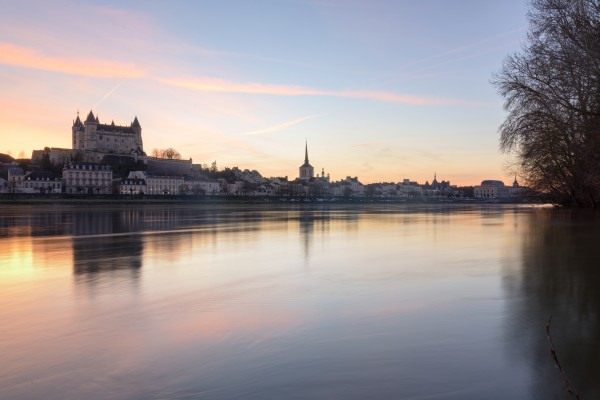 Saumur and the Loire river at sunset by Em Campos
