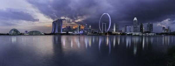 Singapore skyline across the bay by Em Campos