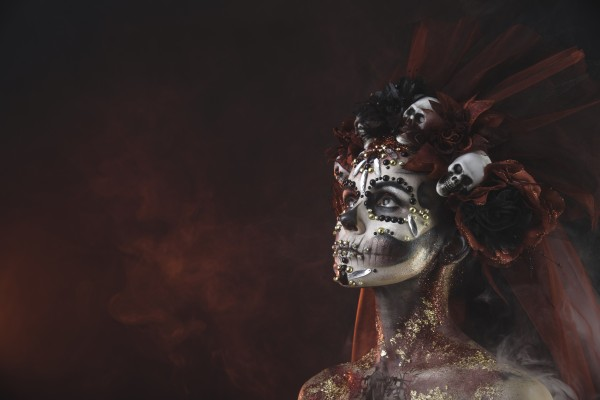 Young girl in the image of Santa Muerte by Faces Studio