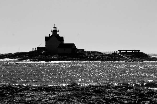 Sparkling Lighthouse Silhouette Maine by FoxHollowArt