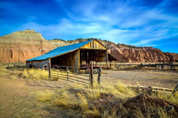 Abandoned farm animal barn in the arid desert of Arizona USA by Francois Lariviere