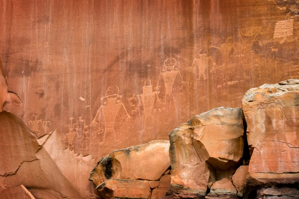 Petroglyphs on rock in Capitol reef national park Utah USA by Francois Lariviere