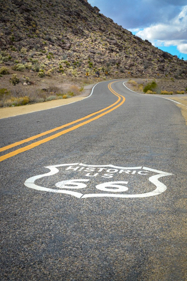 Historic route 66 to the city of oatman Arizona usa by Francois Lariviere