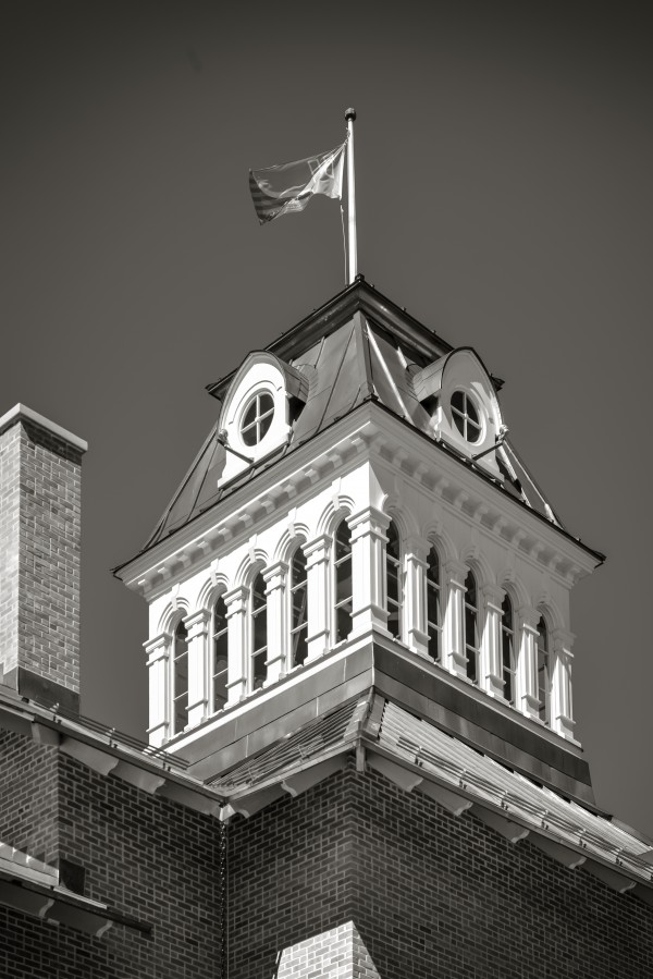 Gable of the food market of Saint-Hyacinthe Quebec Black and white by Francois Lariviere