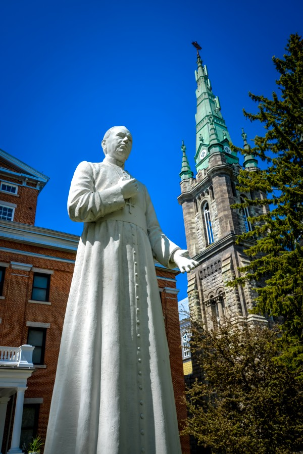 Statue of Monsignor Louis-Zephirin Moreau third bishop of Saint-Hyacinthe in front of the Cathedral by Francois Lariviere