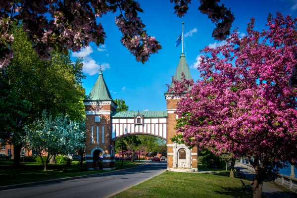 La porte des anciens maires is commemorative gate to the mayors of the city of Saint-Hyacinthe Quebec Canada by Francois Lariviere