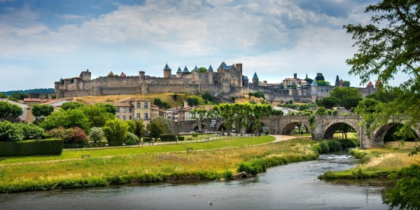Panoramic view of the castle and medieval village of Carcasonne by Francois Lariviere