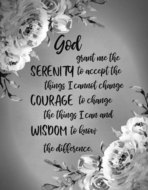Serenity Prayer Floral BW by HH Photography of Florida