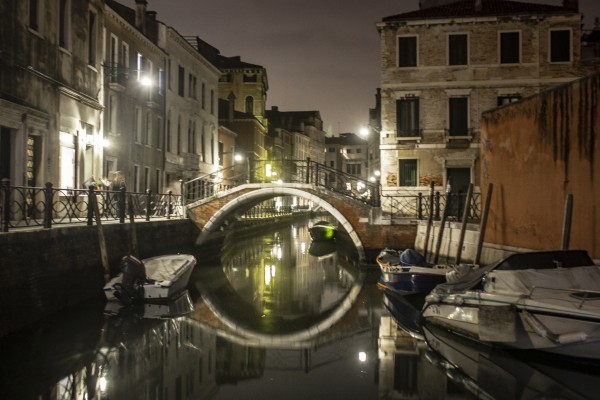 Bridge Reflection of Venice in November by John Anderson