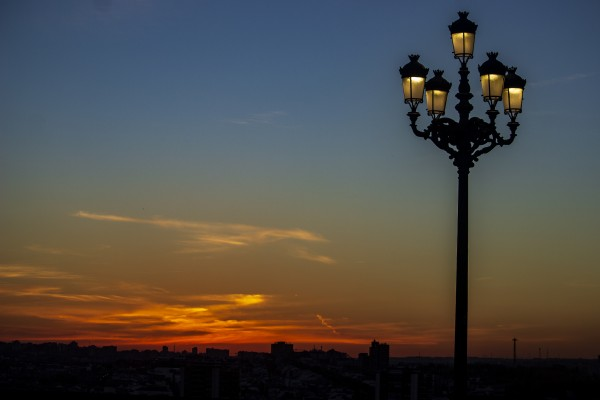 Sunset over Madrid in November by John Anderson