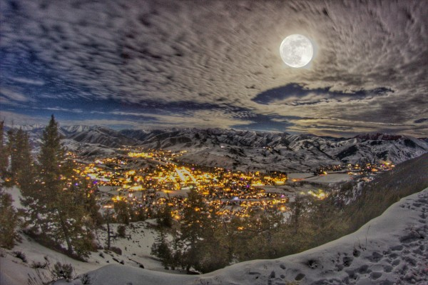 City of Ketchum on a Wintry Night by John Anderson