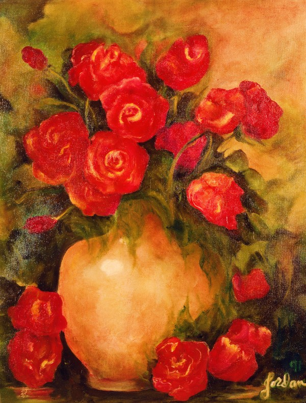 Antique Red Roses by Jordan